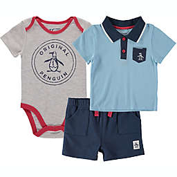 Size 12M 3-Piece Penguin Short Sleeve Bodysuit, Polo T-Shirt, and Short Set in Blue/Navy