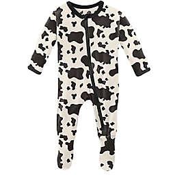 KicKee Pants® Size 0-3M Cow Print Footie Pajama in Black/White