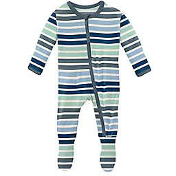 KicKee Pants® Mint Stripe Footie Pajama in Blue/Grey