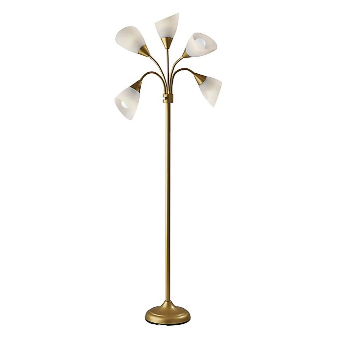 Alternate image 1 for 5-Light Floor Lamp in Gold with Frosted Plastic Shade