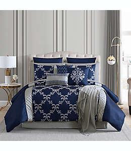 Set de edredón king de poliéster Hallmart Collectibles Gracyn color azul marino