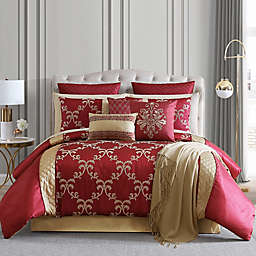 Hallmart Collectibles Gracyn 14-Piece California King Comforter Set in Red/Gold