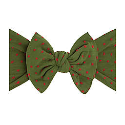 Baby Bling Dot Patterned Shabby Knot Headband in Green/Red