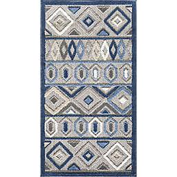 KAS Calla Aztec 3'3 x 4'11 Accent Rug in Grey/Blue