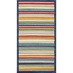 KAS Calla Stripes 6'7 x 9' Area Rug in Ivory/Multi