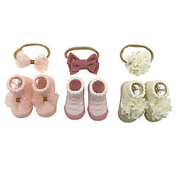 Danbar© Size 0-12M 6-Piece Bow/Flower Headband and Sock Set in Pink