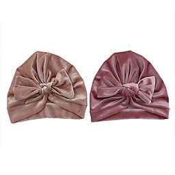 Danbar Size 0-12M 2-Pack Solid Velvet Bow Turbans