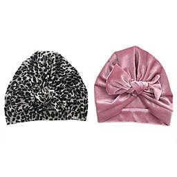 Danbar Size 0-12M 2-Pack Velvet Bow Turbans