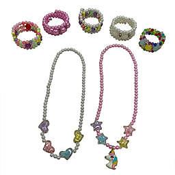 Danbar 7-Piece Beaded Hearts, Stars, and Unicorn Necklace and Bracelet Set