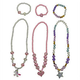 Danbar 6-Piece Beaded Hearts, Stars, and Unicorn Necklace and Bracelet Set in Pink/Purple