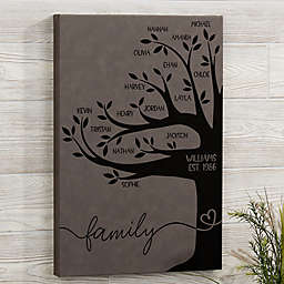 Family Tree Personalized Leatherette Wall Décor in Charcoal