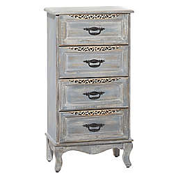 Ridge Road Decor 4-Drawer Vintage Wood and Metal Cabinet in Grey