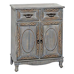 Ridge Road Decor Vintage Wood Cabinet in Grey