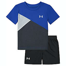 Under Armour® Size 3-6M 2-Piece Cross Cut Shirt and Short Set in Blue
