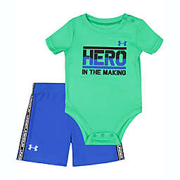 Under Armour® Size 3-6M 2-Piece Hero in the Making Bodysuit and Short Set in Green