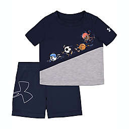 Under Armour® Size 3-6M 2-Piece Ball Team Shirt and Short Set in Blue