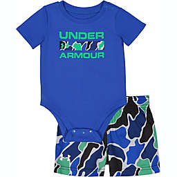 Under Armour® Size 6-9M 2-Piece Branded Bodysuit and Short Set in Blue