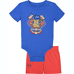 Under Armour® Size 3-6M 2-Piece Americana Peanut Bodysuit and Short Set in Blue