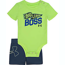 Under Armour® Size 3-6M 2-Piece Big League Boss Bodysuit and Short Set in Green/Grey