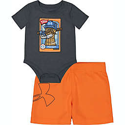 Under Armour® Size 3-6M 2-Piece Peanut Baseball Card Bodysuit and Short Set in Grey