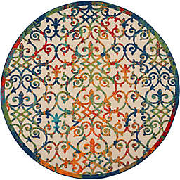"""Nourison Aloha 7'10"""" Round Scrolling Floral Indoor/Outdoor Rug in Multi"""