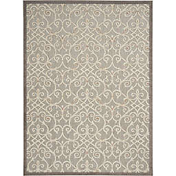 """Nourison Aloha 7'10"""" x 10'6"""" Scrolling Floral Indoor/Outdoor Rug in Natural"""