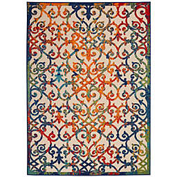 Nourison Aloha 6' x 9' Scrolling Floral Indoor/Outdoor Rug in Multi