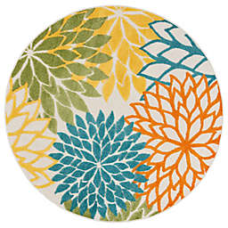 Nourison Aloha Floral 5'3 Round Indoor/Outdoor Area Rug in Turquoise