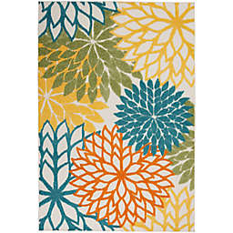 Nourison Aloha Floral 5'3 x 7'5 Indoor/Outdoor Area Rug in Turquoise