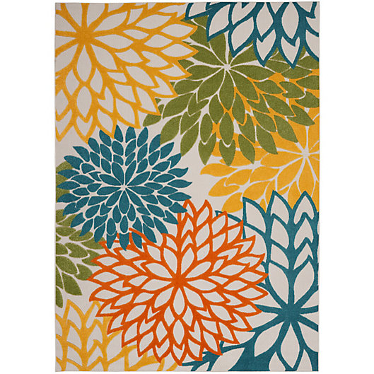 Alternate image 1 for Nourison Aloha Floral 7'10 x 10'6 Indoor/Outdoor Area Rug in Turquoise