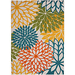 Nourison Aloha Floral 7'10 x 10'6 Indoor/Outdoor Area Rug in Turquoise