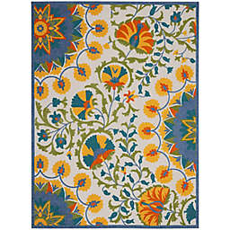 """Nourison Aloha 7'10"""" x 10'6"""" Bold Floral Indoor/Outdoor Rug in Multi"""