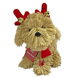 8-Inch Animated Christmas Puppy in Brown/Red