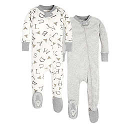 Burt's Bees Baby® 2-Pack A-Bee-C & Stripes Footed Pajamas in Grey/White
