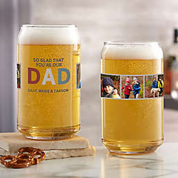 So Glad You're Our Dad Photo Beer Can Glass