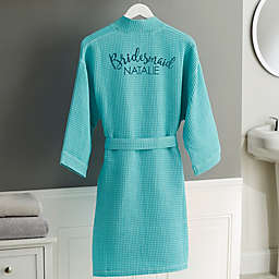 Bridal Party Embroidered Waffle Weave Kimono Robe in Mint Green