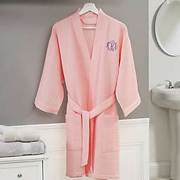 Embroidered Waffle Weave Kimono Robe in Pink Blush