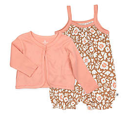 The Honest Company® 2-Piece Floral Bubble Romper and Cropped Cardigan Set in Brown
