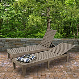 National Outdoor Living Bedford All-Weather Chaise Lounge in Grey (Set of 2)