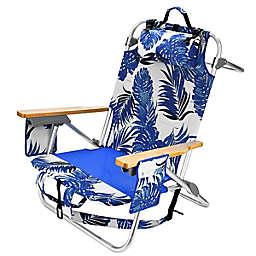 5-Position Folding Floral Backpack Beach Chair in Blue