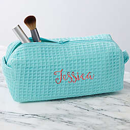 Embroidered Mint Waffle Weave Makeup Bag