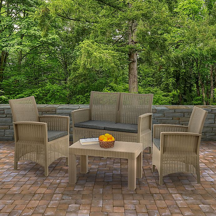 Alternate image 1 for Cardiff 4-Piece Patio Conversation Set in Grey with Cushions