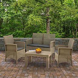 Cardiff 4-Piece Patio Conversation Set in Grey with Cushions