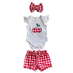 Sterling Baby 3-Piece Plaid Bodysuit, Short, and Headband Set in White/Cherry