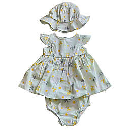 Sterling Baby 3-Piece Flower Dress, Panty, and Hat Set in Blue