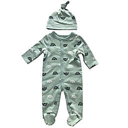 Sterling Baby Size 9M 2-Piece Cloud Footie and Hat Set in Sage Green