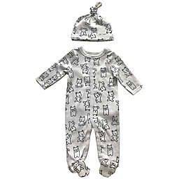 Sterling Baby 2-Piece Bear Footie and Hat Set in White/Black