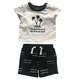 Sterling Baby Palm Tree T-Shirt and Short Set in Black/White
