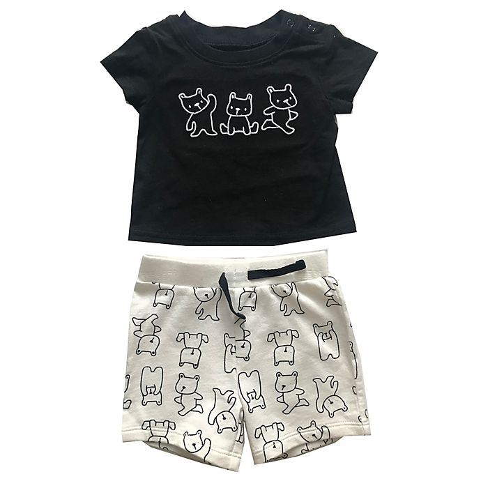 Alternate image 1 for Sterling Baby 2-Piece Bear T-Shirt and Short Set in Black/White
