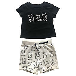 Sterling Baby 2-Piece Bear T-Shirt and Short Set in Black/White